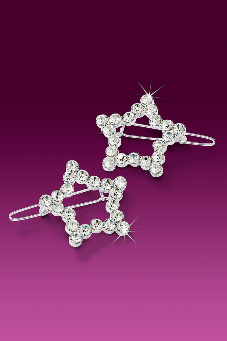2-Piece Star Rhinestone Barrettes - Crystal