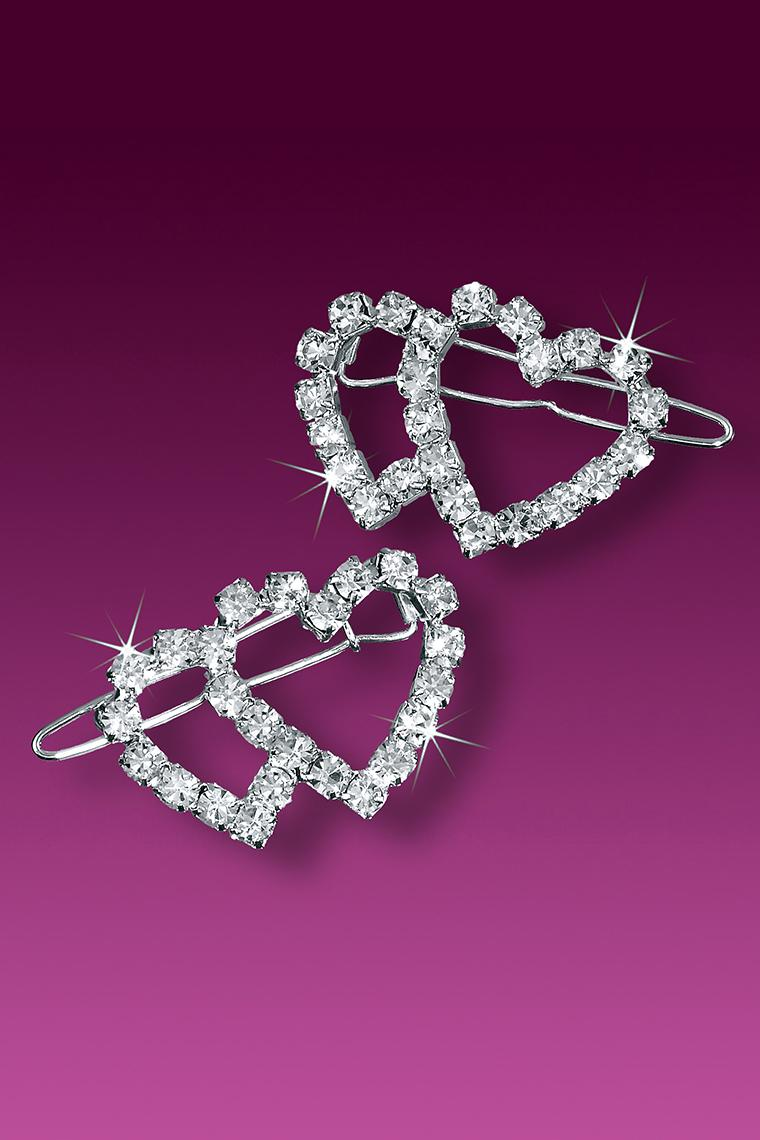2-Piece Double Heart Rhinestone Barrettes - Crystal