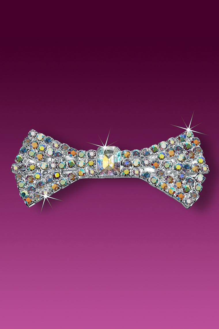 Flared Bow Rhinestone Barrette - Crystal AB