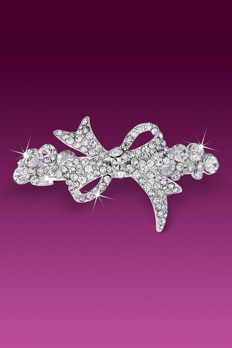 Ribbon Bow Rhinestone Barrette - Crystal