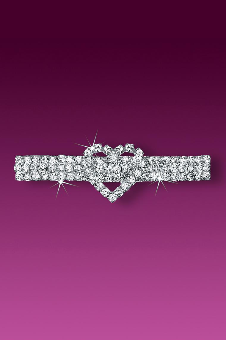 Graceful Heart Rhinestone Barrette - Crystal