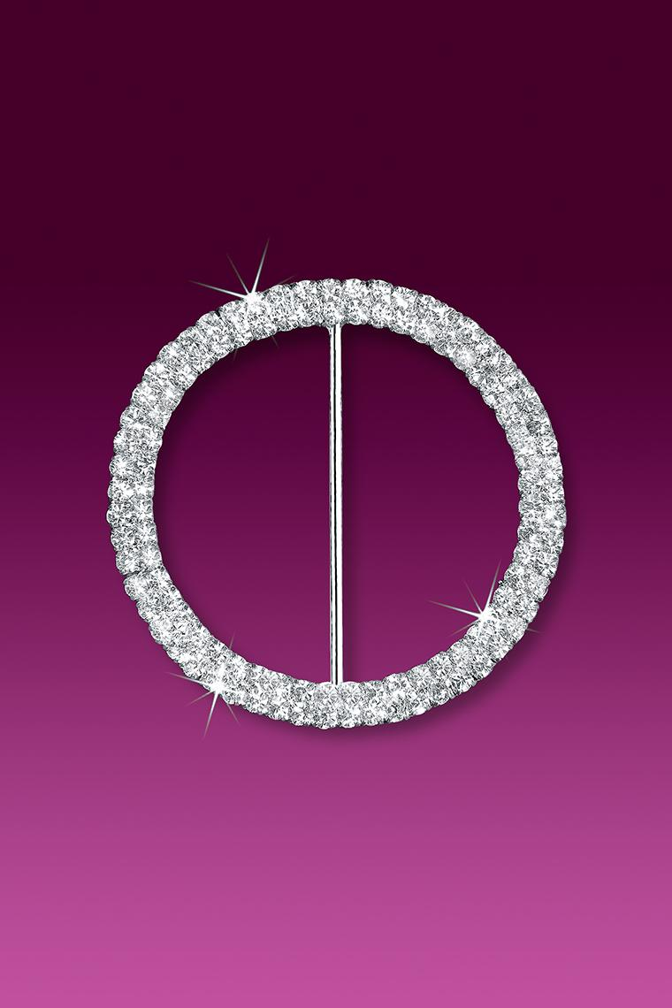 "2.25"" Double Row Circle Rhinestone Buckle Slider"