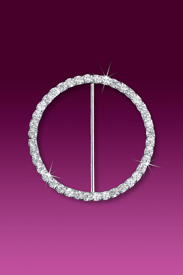 "2.5"" Circle Rhinestone Buckle Slider"