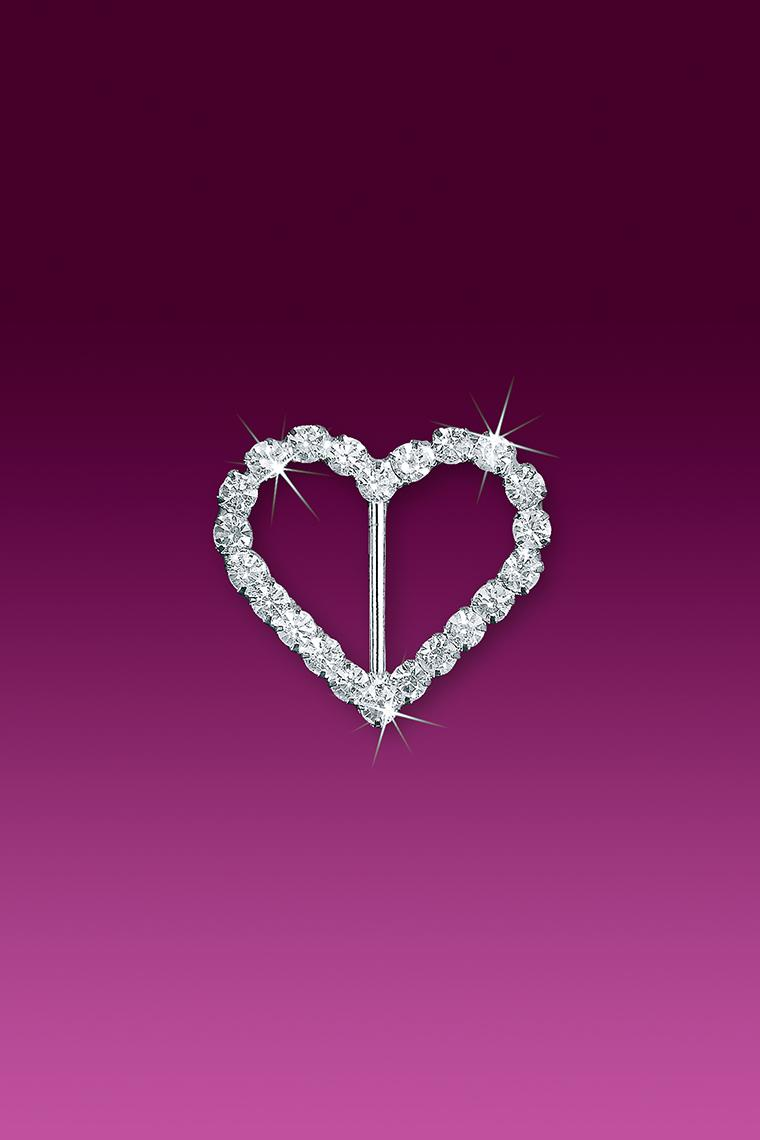 "1.25"" Heart Rhinestone Buckle Slider"