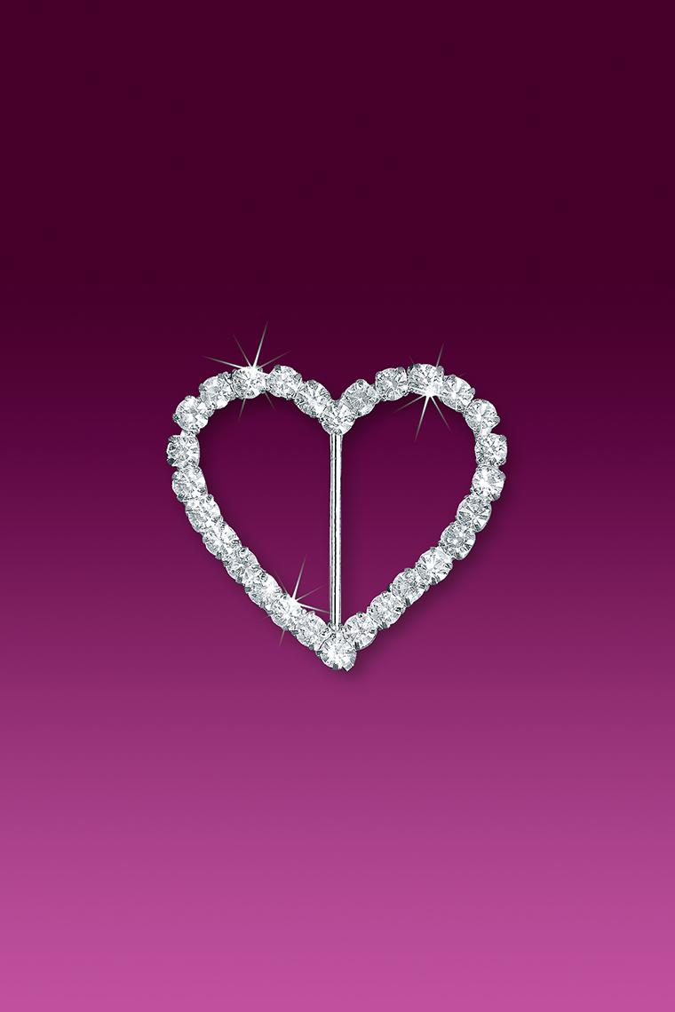 "1.5"" Heart Rhinestone Buckle Slider"