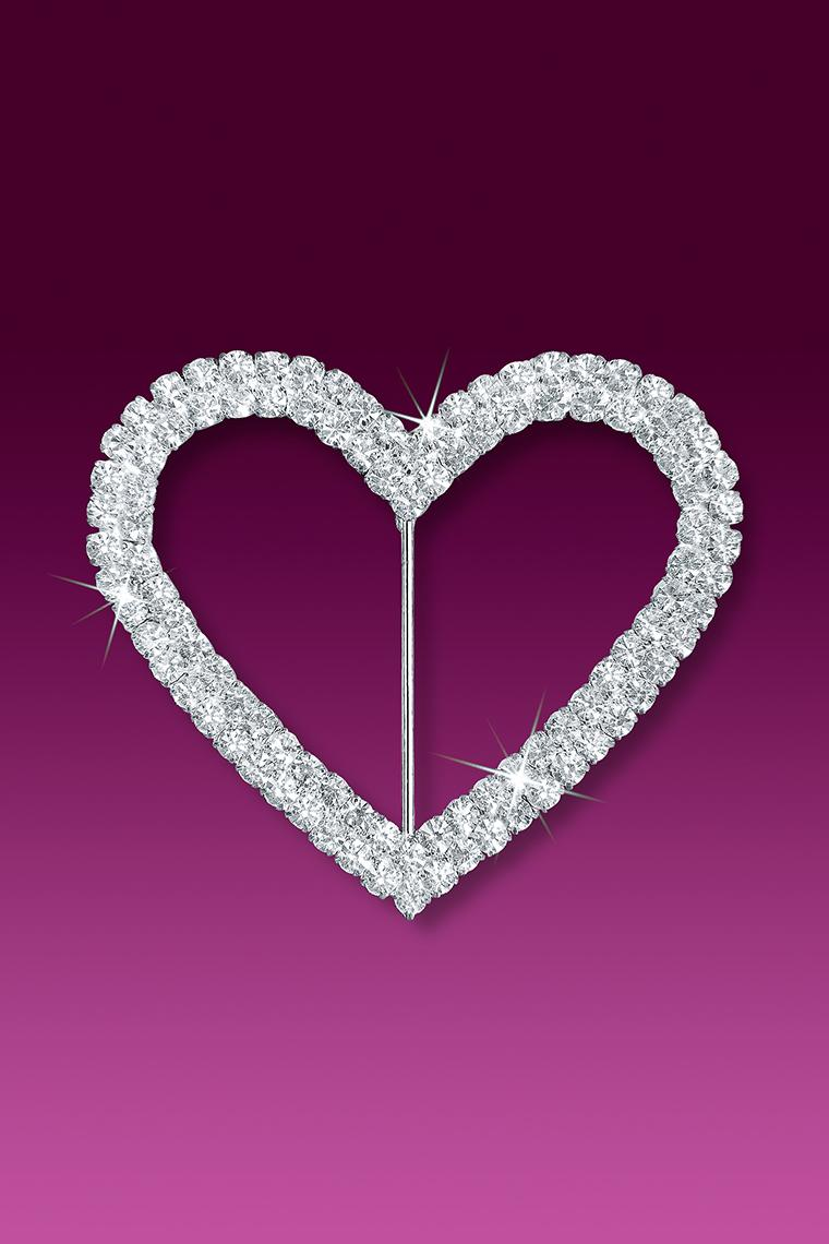 "2.5"" Double Row Heart Rhinestone Buckle Slider"