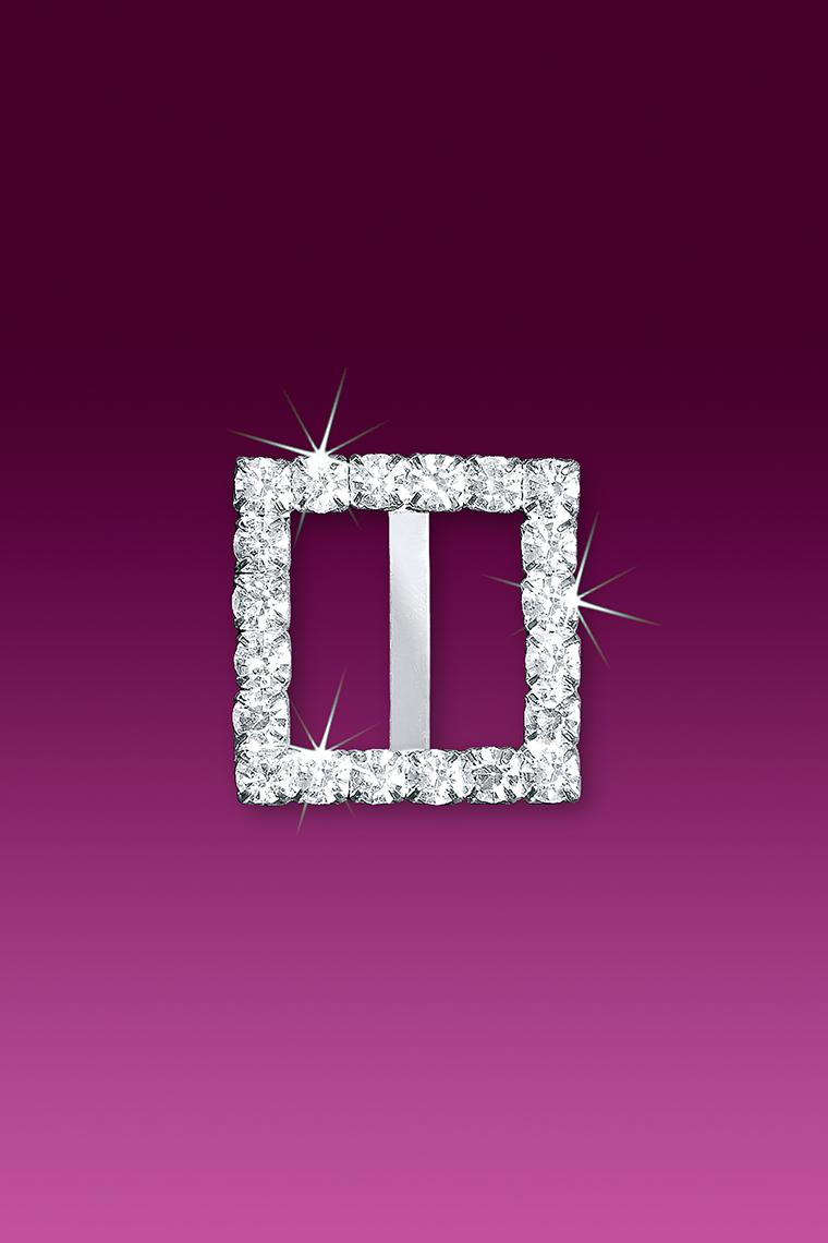 "1"" Square Rhinestone Buckle Slider"