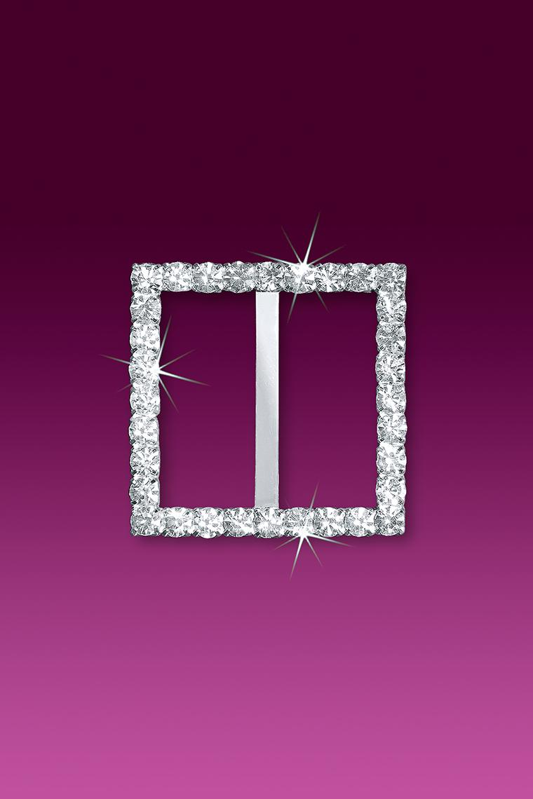 "1.5"" Square Rhinestone Buckle Slider"