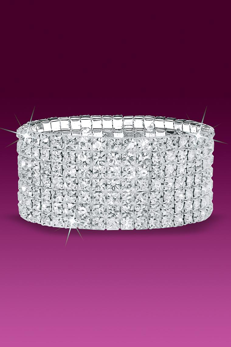 7-Row Stretch Rhinestone Bracelet - Crystal