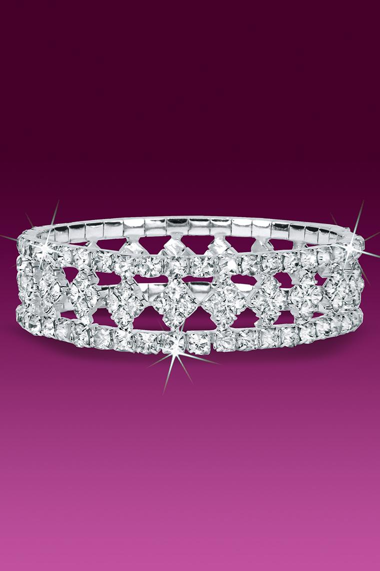 Diamond Center Stretch Rhinestone Bracelet - Crystal