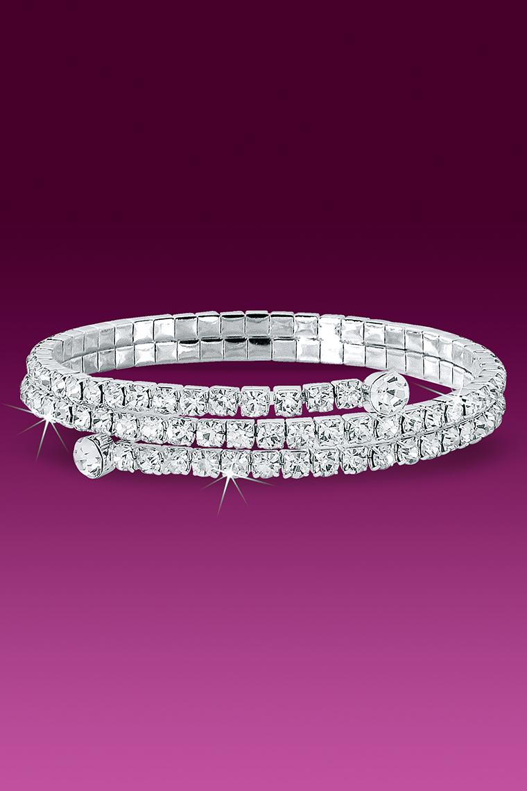 Wrap Around Rhinestone Bracelet - Crystal