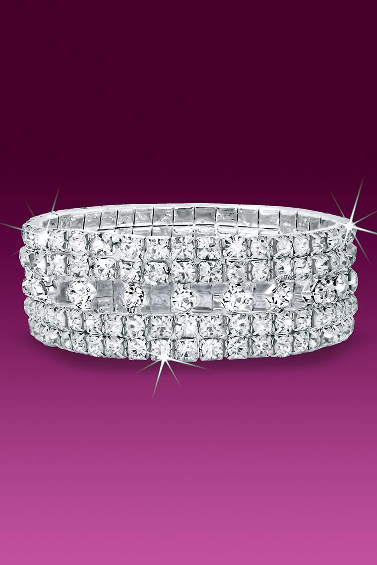 Diamond Pattern Stretch Rhinestone Bracelet - Crystal