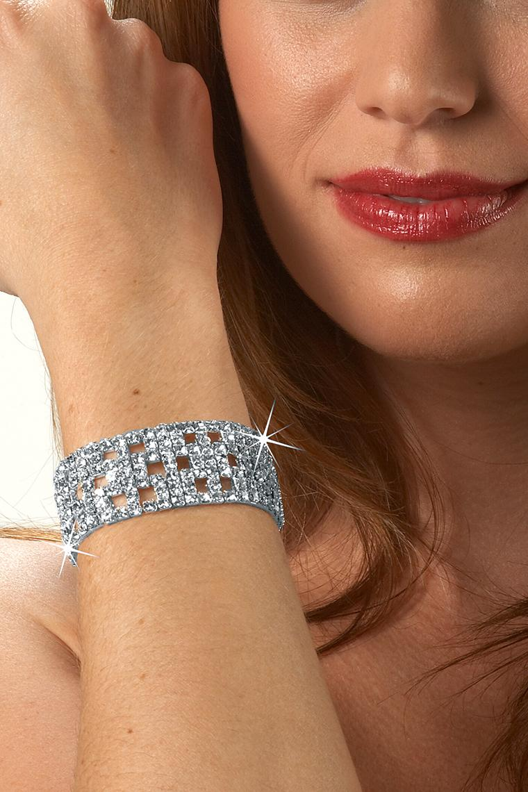 Fancy 7-Row Stretch Rhinestone Bracelet - Crystal