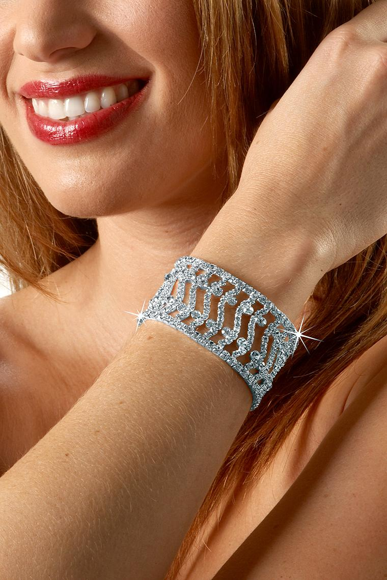Fancy Stretch Rhinestone Bracelet - Crystal