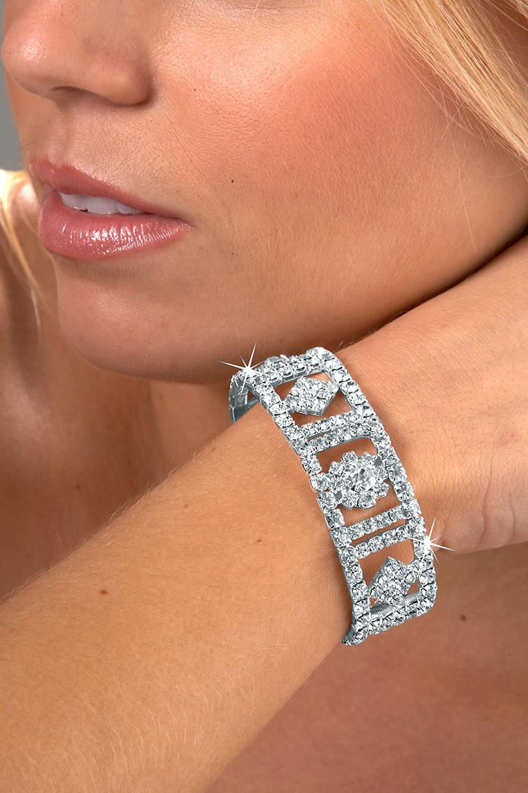 Circle in the Square Stretch Rhinestone Bracelet - Crystal