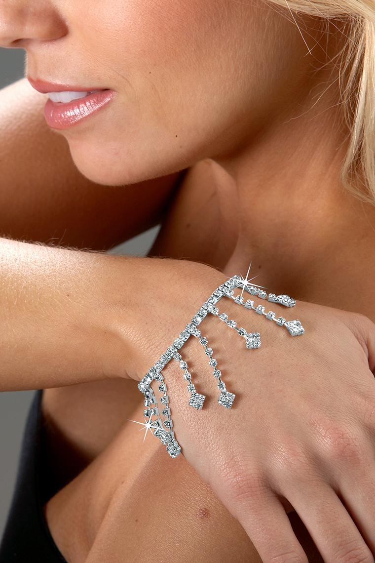 Dangling Drops Stretch Rhinestone Bracelet - Crystal