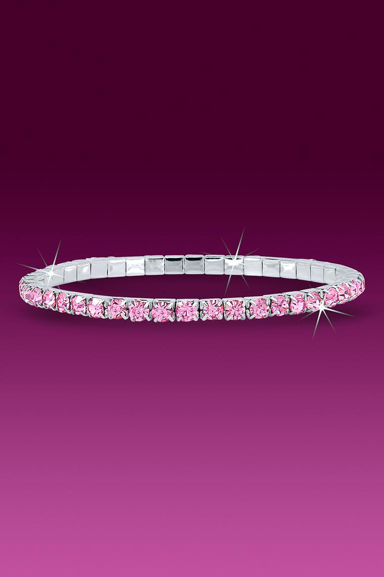 Single Row Stretch Rhinestone Bracelet - Pink