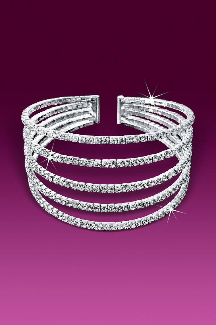 5-Row Rhinestone Flexible Cuff Bracelet - Crystal