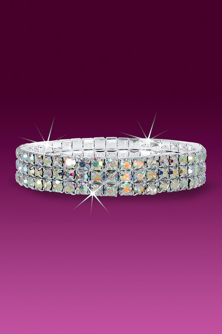 3-Row Stretch Rhinestone Bracelet - Crystal AB