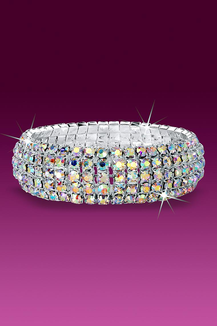 Curved Band Stretch Rhinestone Bracelet - Crystal AB