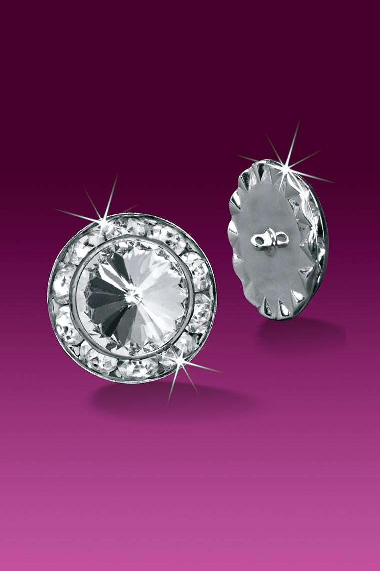Rhinestone Crystal Buttons - 15mm Diameter