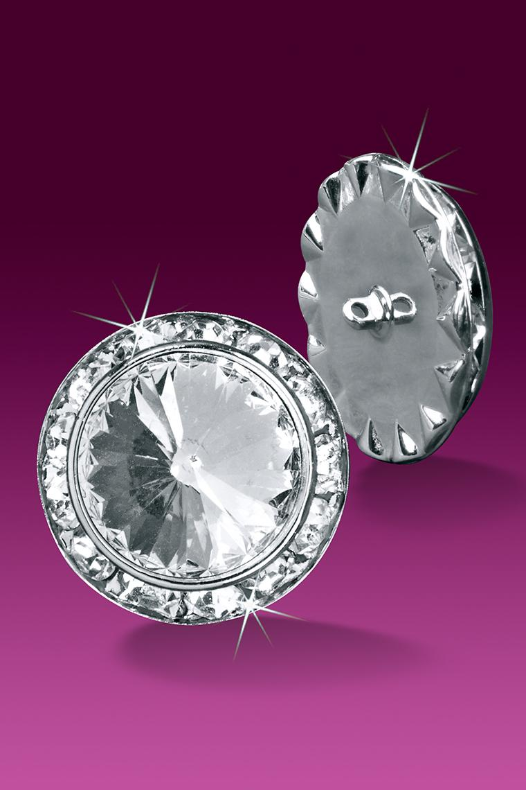 Rhinestone Crystal Buttons - 20mm Diameter