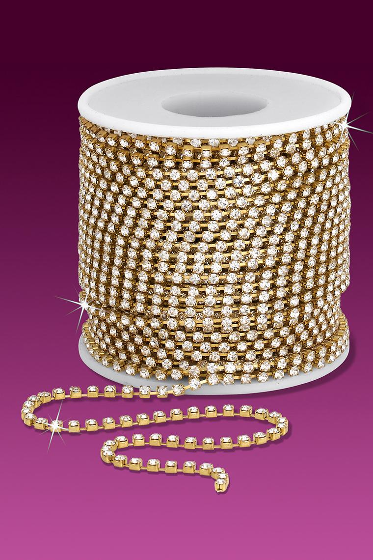 12ss Rhinestone Chain - Crystal Stones/Gold Plated