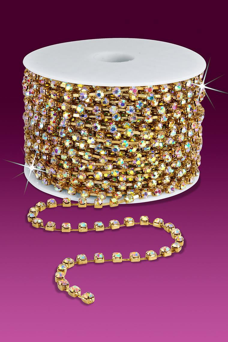 18ss Rhinestone Chain - Crystal AB Stones/Gold Plated