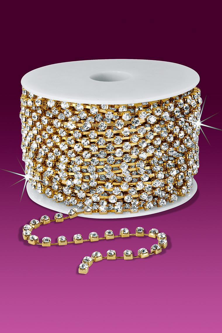 18ss Rhinestone Chain - Crystal Stones/Gold Plated
