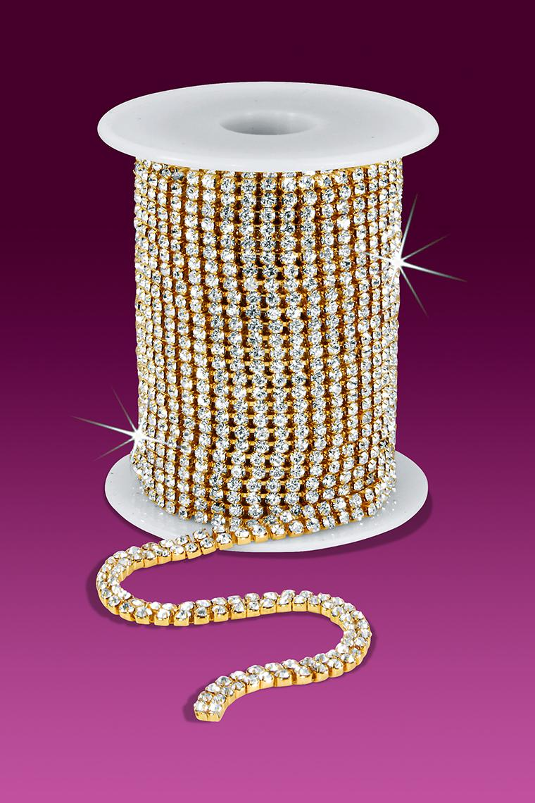 2-Row 12ss Rhinestone Chain - Crystal Stones/Gold Plated