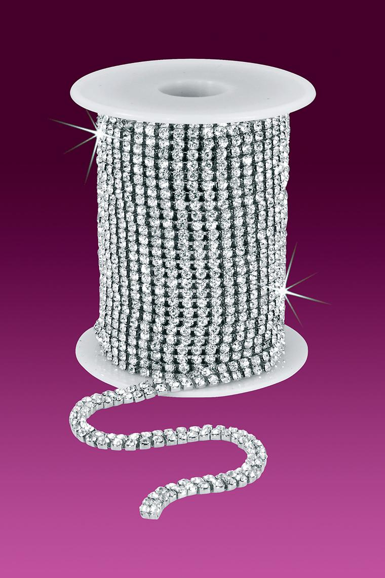 2-Row 12ss Rhinestone Chain - Crystal Stones/Silver Plated