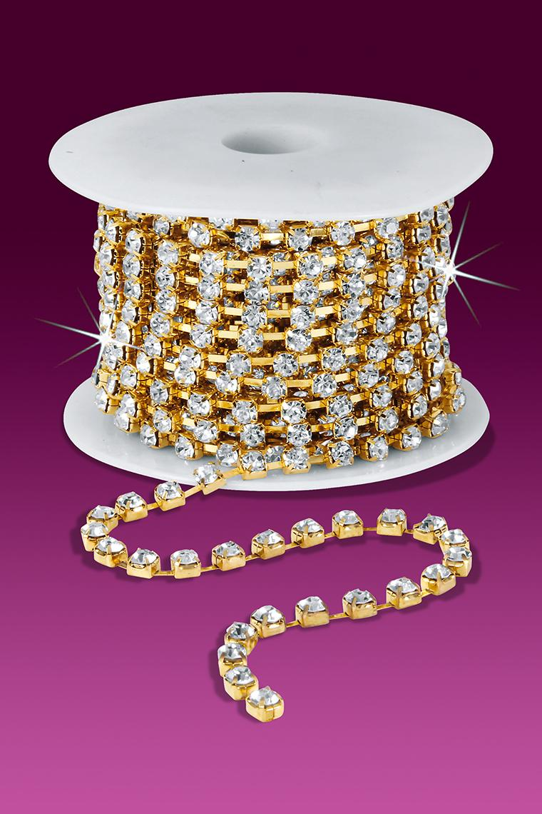24ss Rhinestone Chain - Crystal Stones/Gold Plated