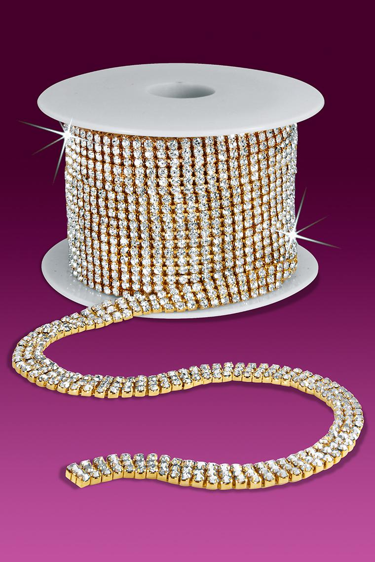 3-Row 12ss Rhinestone Chain - Crystal Stones/Gold Plated