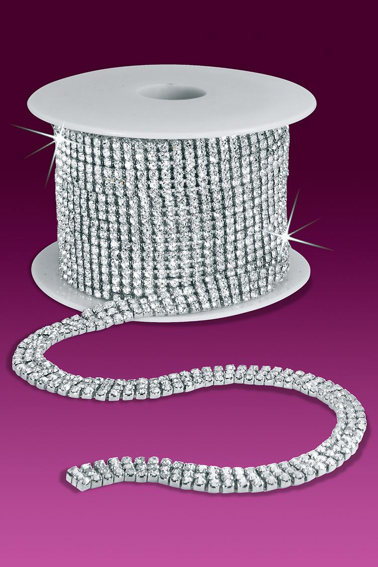 3-Row 12ss Rhinestone Chain - Crystal Stones/Silver Plated