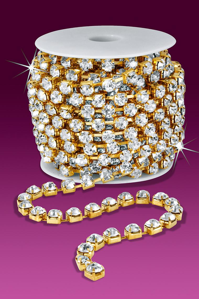 38ss Rhinestone Chain - Crystal Stones/Gold Plated