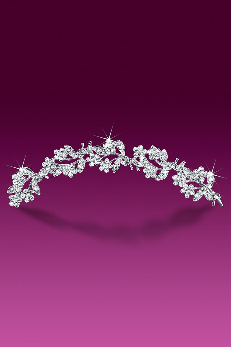 Floral Bouquet Crystal Rhinestone Tiara Comb