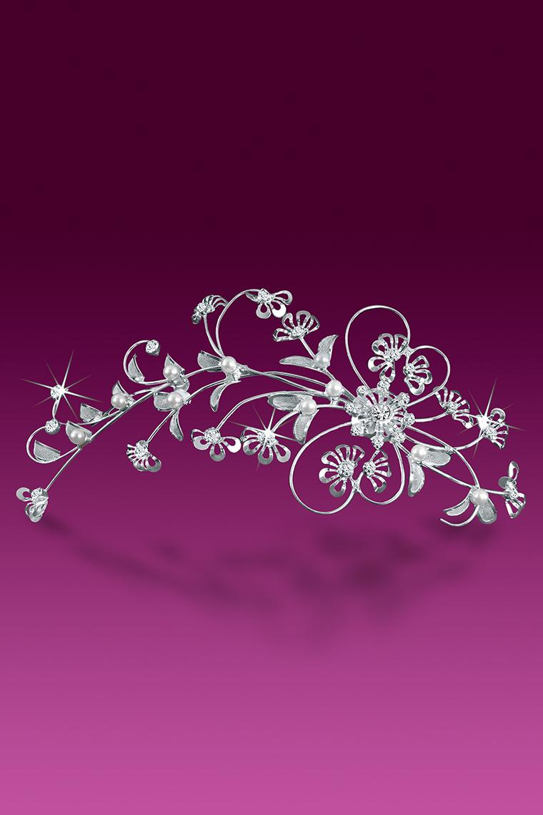 Floral Fantasy Rhinestone And Pearl Bridal Hair Comb
