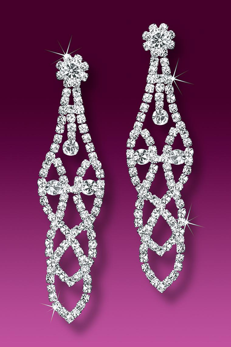 Crystal Fantasy Rhinestone Drop Earrings - Pierced