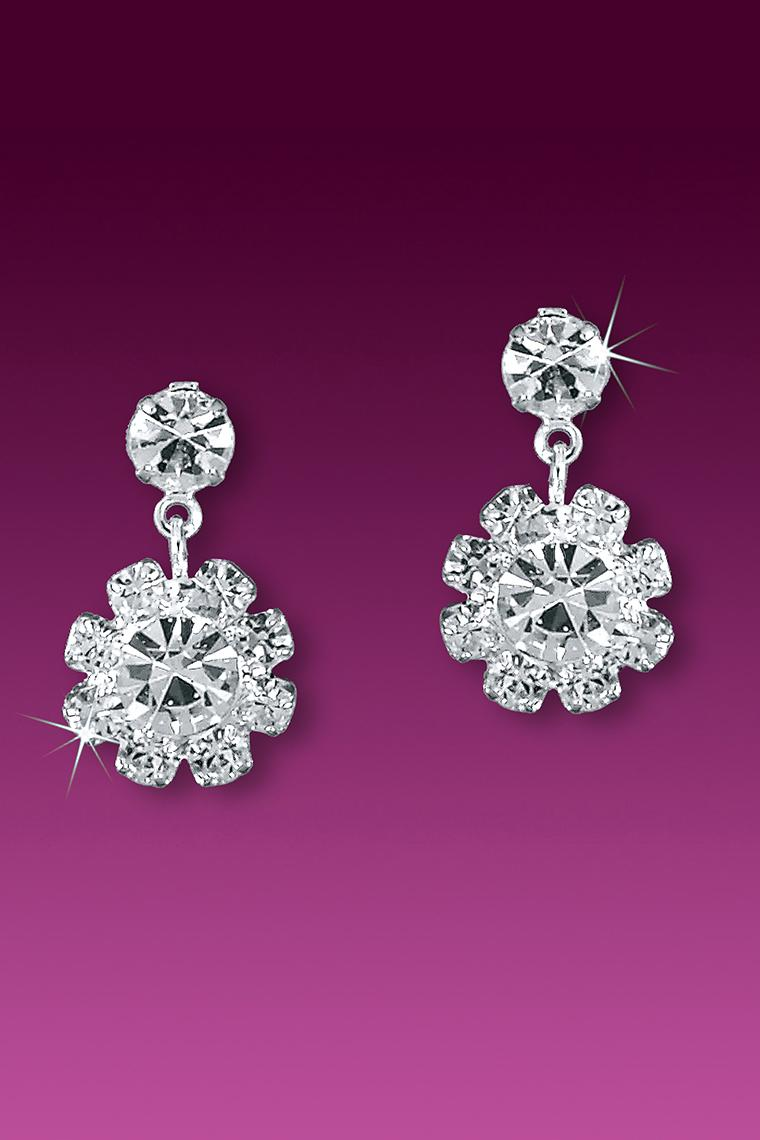 Small Floral Crystal Rhinestone Drop Earrings - Pierced