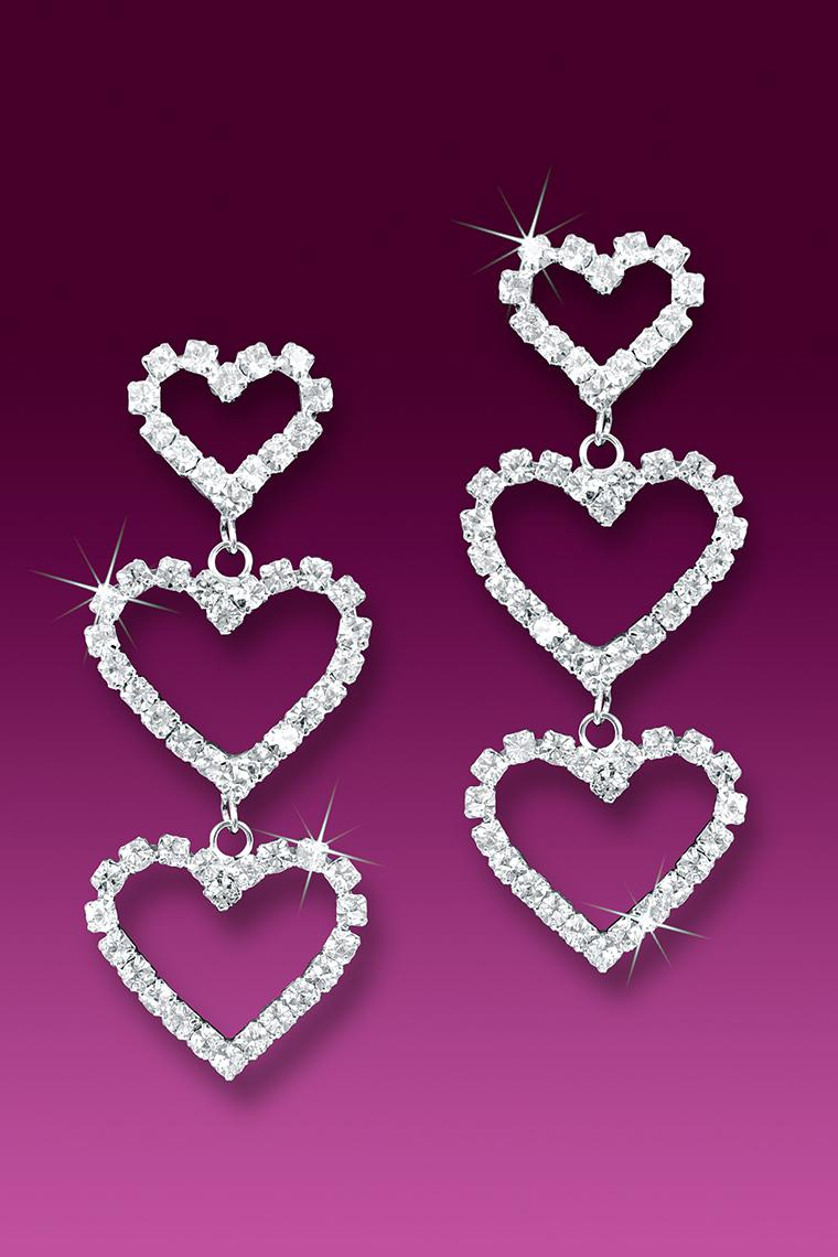 Triple Heart Crystal Rhinestone Dangle Earrings - Pierced
