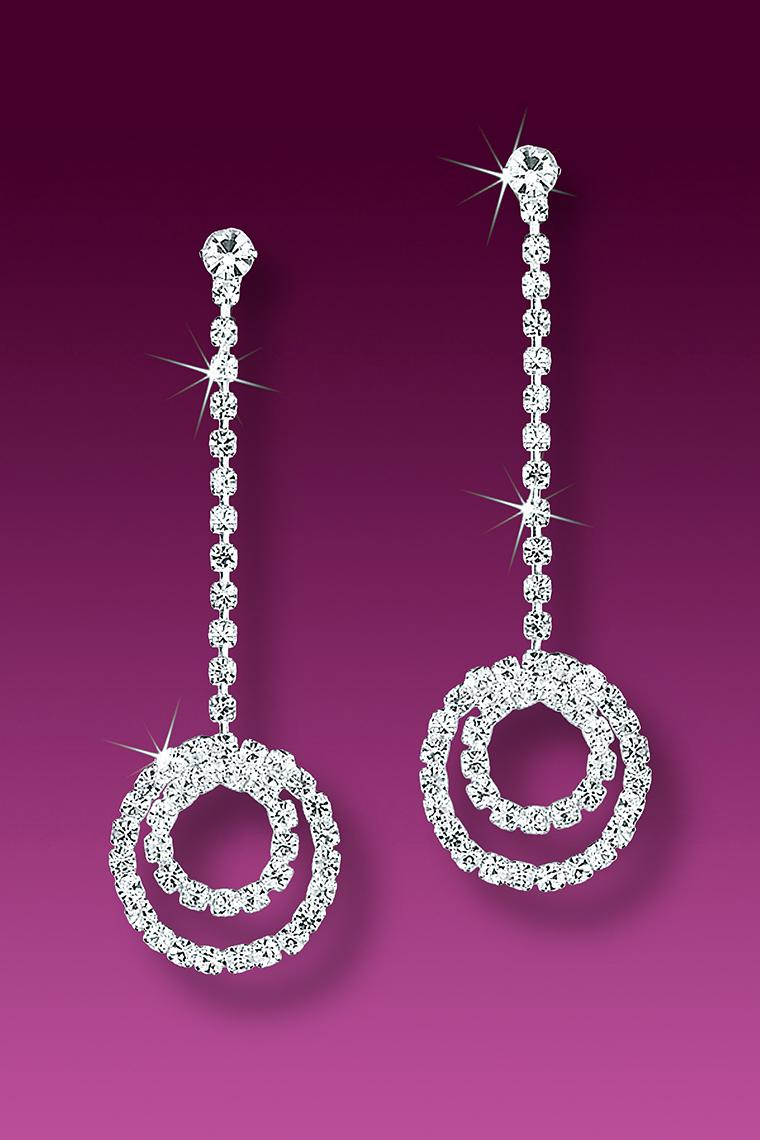 Double Circles Crystal Rhinestone Dangle Earrings - Pierced