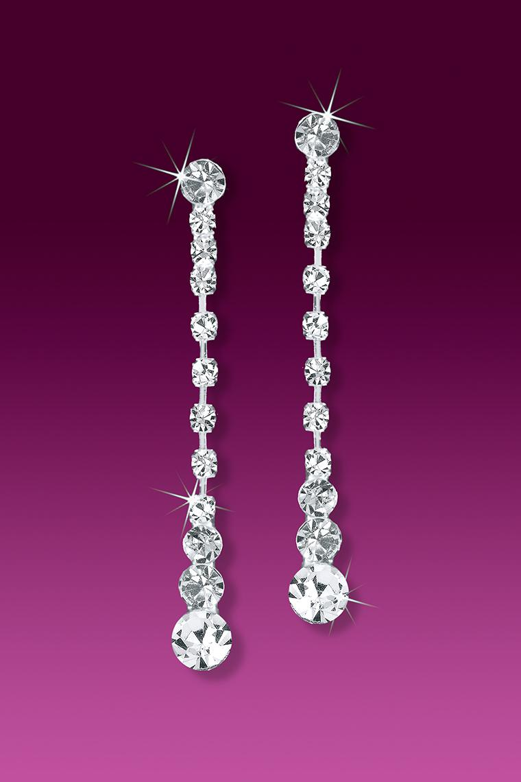 Show Girl Crystal Rhinestone Dangle Earrings - Pierced