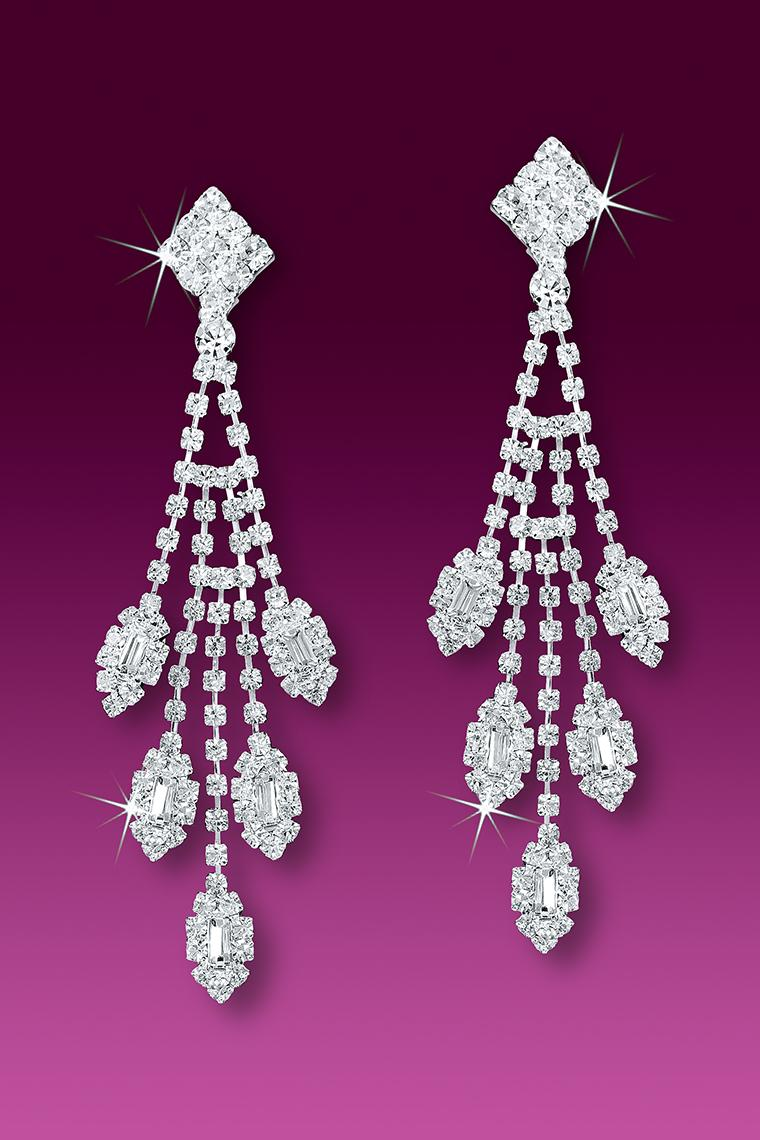Marquis Crystal Rhinestone Dangle Earrings - Pierced