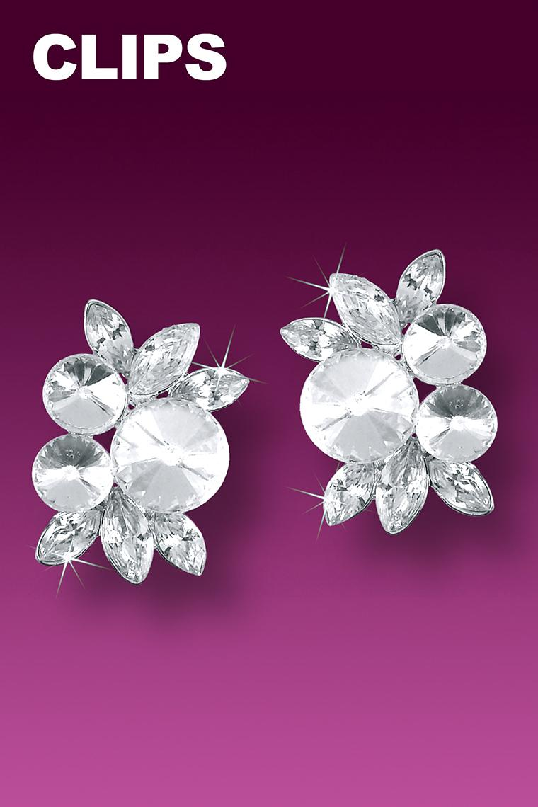 Classic Style Rhinestone Cluster Earrings - Clip-On