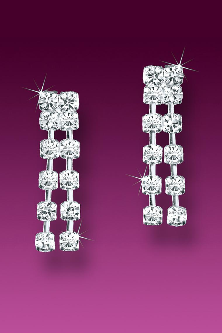 Small Double Row Rhinestone Chain Earrings - Pierced
