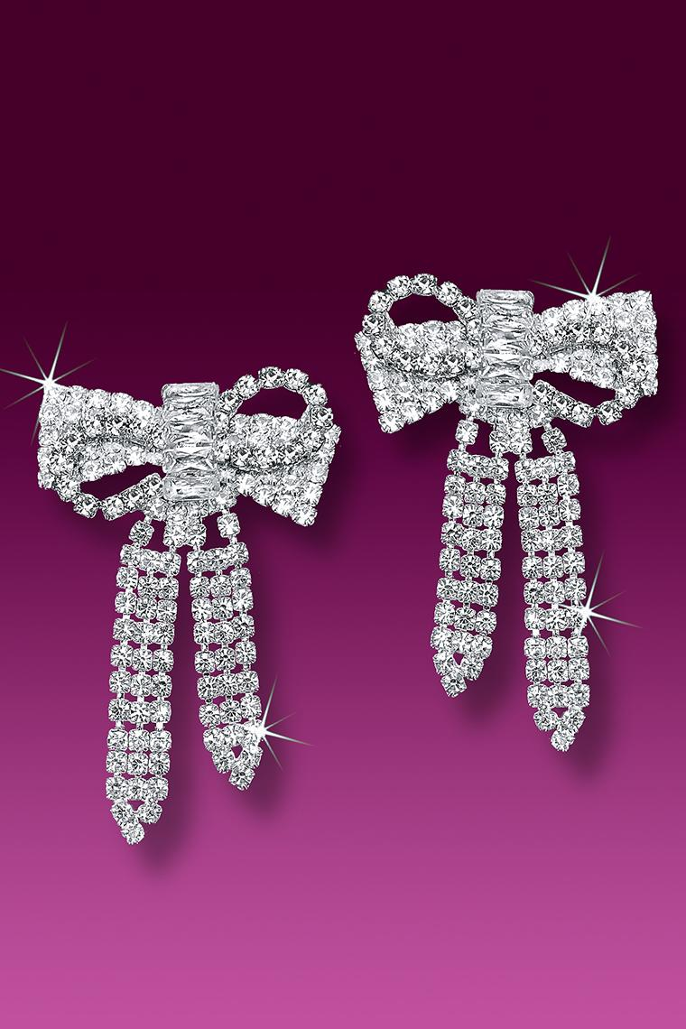 Glamour Crystal Bow Rhinestone Earrings - Pierced