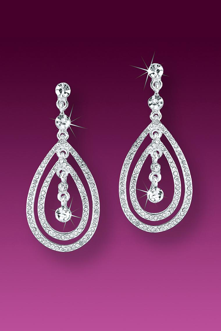 Double Loop Crystal Rhinestone Earrings - Pierced