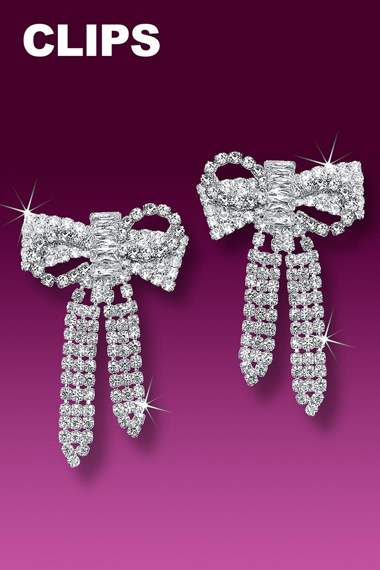 Glamour Crystal Bow Rhinestone Earrings - Clip-On