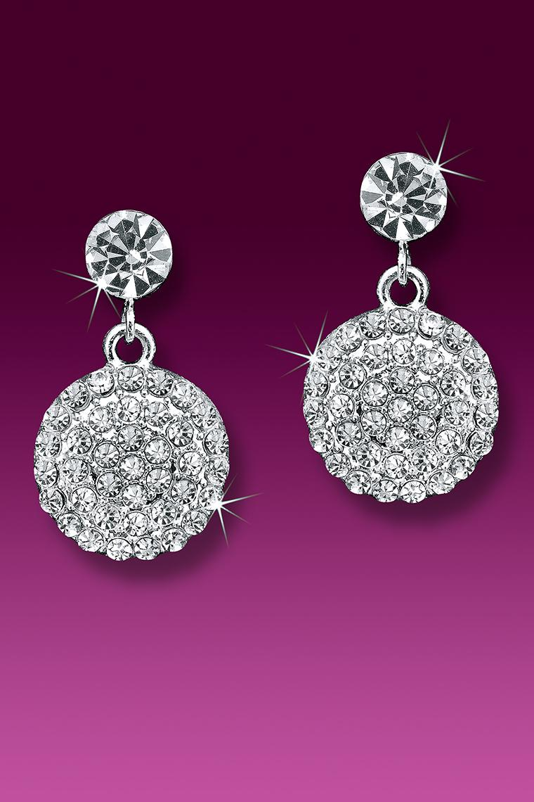 Pave Crystal Dangle Rhinestone Earrings - Pierced