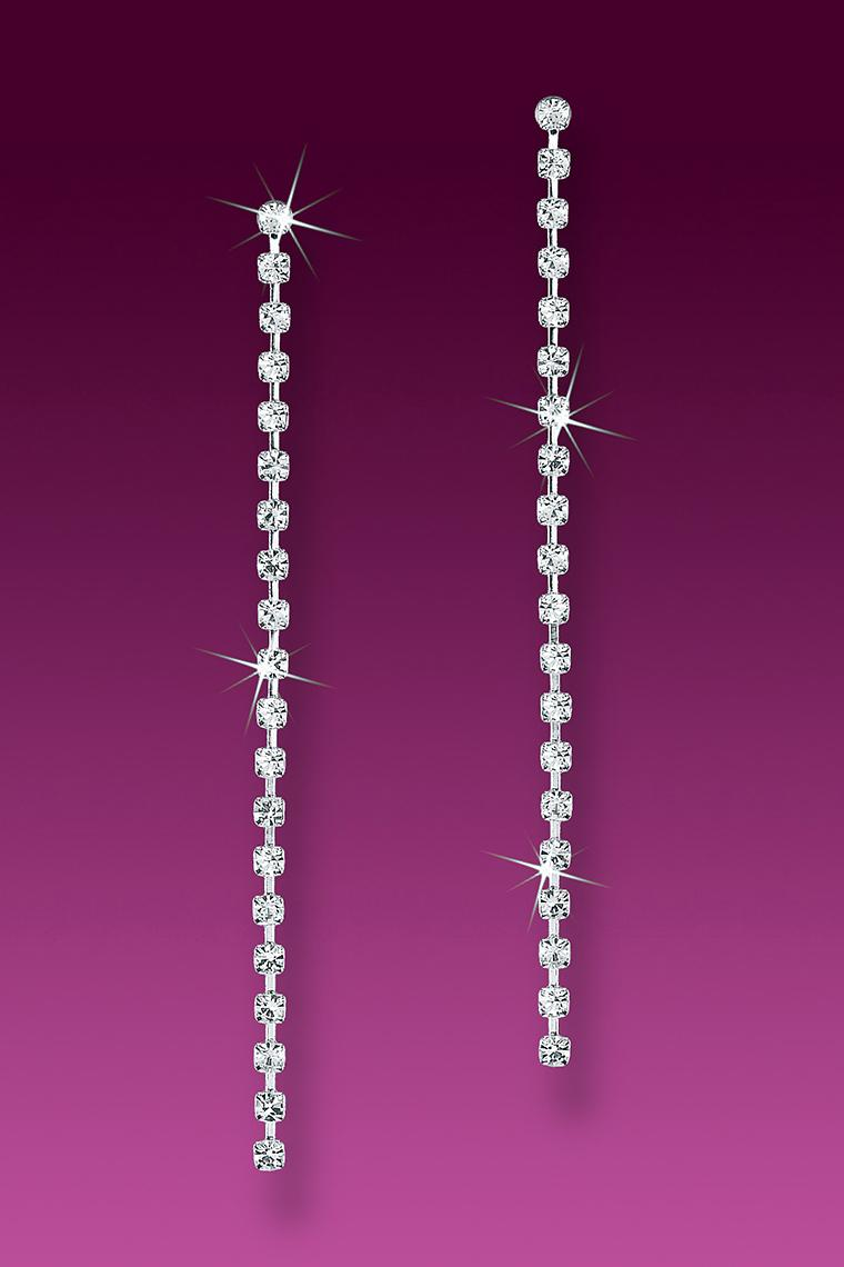 Single Strand Crystal Rhinestone Earrings - Pierced